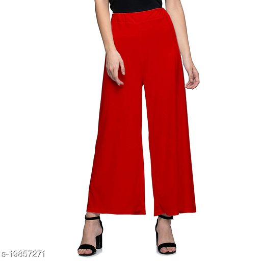 Lets Shine stylish Cheap & Best casual wear palazzo pant for females,Red ( Size 28 to 36 & Free Size)