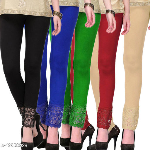 Style Pitara stylish Lace Leggings (Pack of 5) for GirSP & Women-Size 28 to 36 & Free Size (Black,Blue,Green,Maroon & Beige)