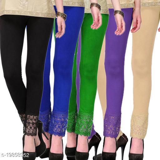 Style Pitara stylish Lace Leggings (Pack of 5) for GirSP & Women-Size 28 to 36 & Free Size (Black,Blue,Green,Purple & Beige)