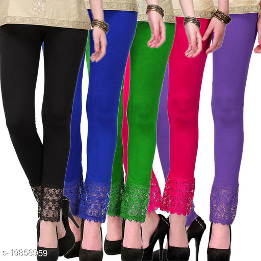 Style Pitara stylish Lace Leggings (Pack of 5) for GirSP & Women-Size 28 to 36 & Free Size (Black,Blue,Green,Pink & Purple)