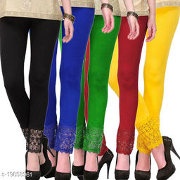 Style Pitara stylish Lace Leggings (Pack of 5) for GirSP & Women-Size 28 to 36 & Free Size (Black,Blue,Green,Maroon & Yellow)