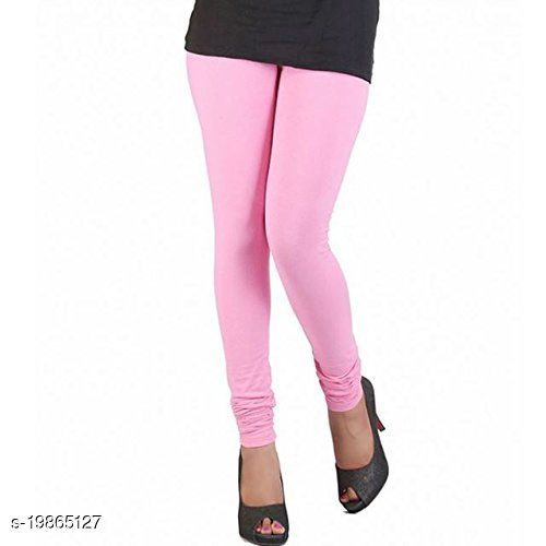 Trendy latest Ultra Soft Cotton(Soft pink - -34) Churidar Solid Regular and Plus 45 Colours Leggings for Womens and Girls.100% cotton and 100% gaurantee.