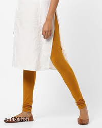 Trendy latest Ultra Soft Cotton(Mustard -34) Churidar Solid Regular and Plus 45 Colours Leggings for Womens and Girls.100% cotton and 100% gaurantee.