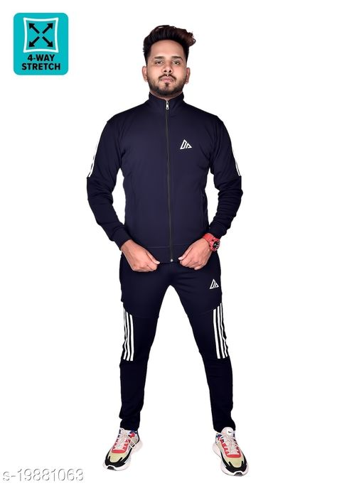 Addida Men's Tracksuit Top & Bottom Set All Weather 4Way Stretch Fabric