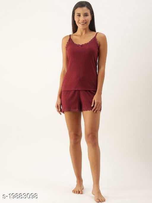 Slumber Jill Bordeaux Variated Rib Strap Top & Shorts Set