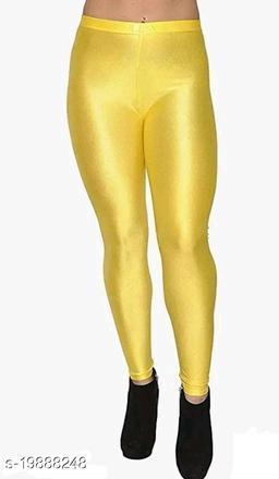 YELLOW SATIN LEGGINGS FOR WOMEN