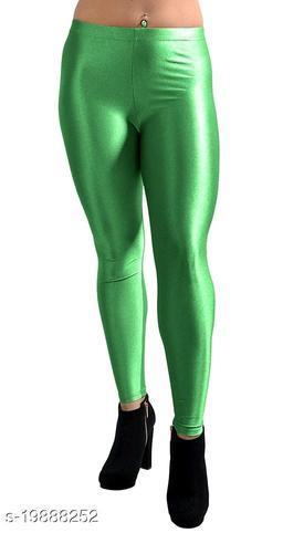 GREEN SATIN LEGGINGS FOR WOMEN