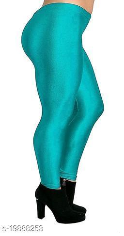 RAMA GREEN SATIN LEGGINGS FOR WOMEN