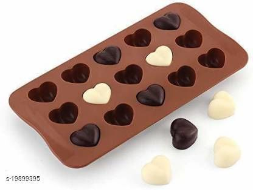 HARDIK TRADERS Silicone Chocolate Making Mould, Heart Shape, 15 Slots, Food Grade, Brown