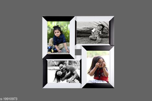 5x7 Wall Photo Frame Collage 4 in 1 Photo Frame Black White Synthetic Wood (15 x 15 inches)