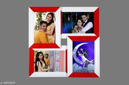 5x7 Wall Photo Frame Collage 4 in 1 Photo Frame Red White Synthetic Wood (15 x 15 inches)