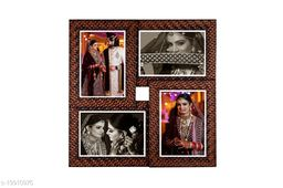 5x7 Wall Photo Frame Collage 4 in 1 Photo Frame Tiles Synthetic Wood (15 x 15 inches)