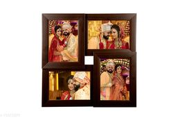 5x7 Wall Photo Frame Collage 4 in 1 Photo Frame Brown Synthetic Wood (15 x 15 inches)
