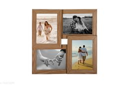 5x7 Wall Photo Frame Collage 4 in 1 Photo Frame Natural Synthetic Wood (15 x 15 inches)