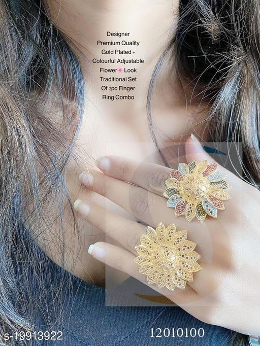 GOLD PLATED + COLOURFUL ADJUSTABLE OF 2 PCS FLOWER FINGER RING