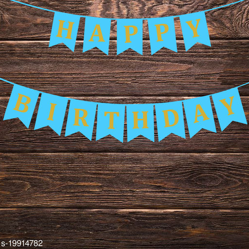 Style Secrets Designer Happy Birthday Banner in Metallic Gold Letters ( Sky Blue )