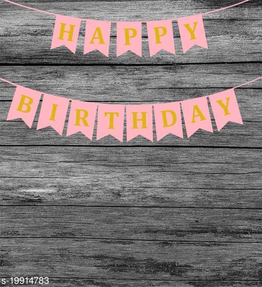 Style Secrets Designer Happy Birthday Banner in Metallic Gold Letters ( Light Pink )
