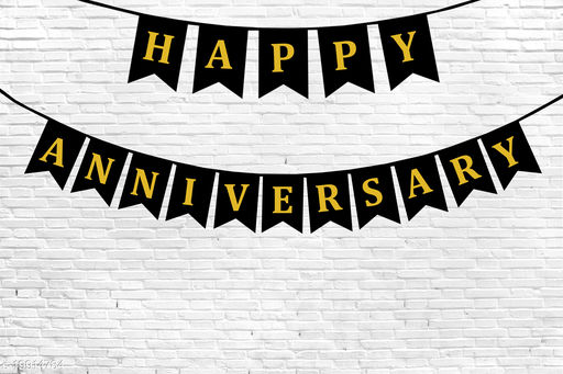 Style Secrets Designer Happy Anniversary Banner in Metallic Gold Letters ( Black )