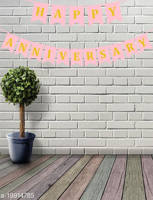 Style Secrets Designer Happy Anniversary Banner in Metallic Gold Letters ( Light Pink )