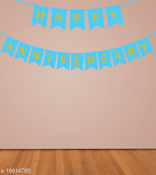 Style Secrets Designer Happy Anniversary Banner in Metallic Gold Letters ( Sky Blue )