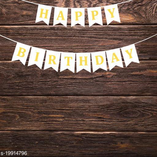 Style Secrets Designer Happy Birthday Banner in Metallic Gold Letters (White )