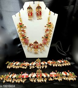 Wedding Bride Necklace Set & Anklets Set (1 Pair)for Women & Girls
