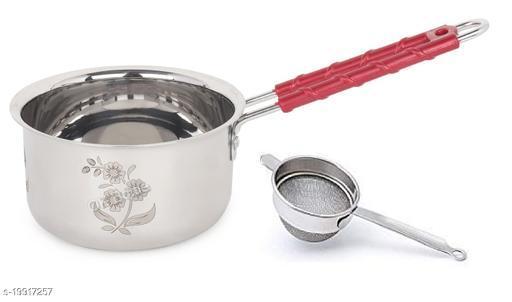 Steel Made Copper Flate Bottom Sauce Pan with Tea Strainer | 1 LTR | for Milk/Tea/Sauce/Etc
