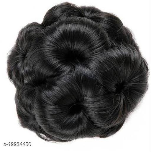 Charming Elegant   Black Fur Hair Bun