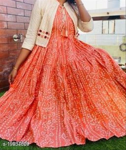 Women Rayon Jacket Kurta Printed Orange Kurti