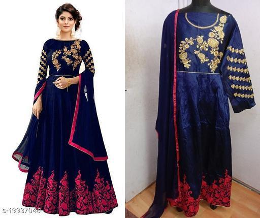 Designer Phantom Silk Pink Semi-Stitched Gown With Dupatta