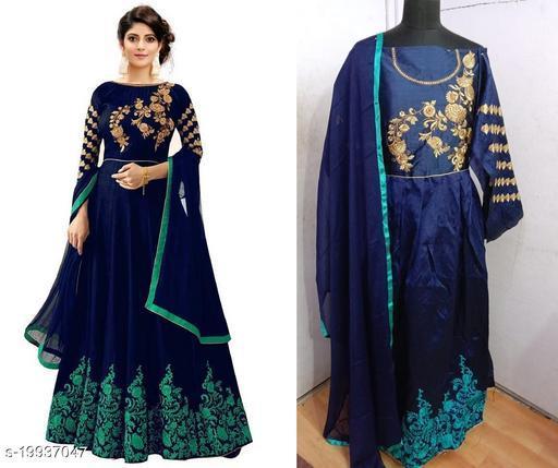 Designer Phantom Silk Rama Green Semi-Stitched Gown With Dupatta