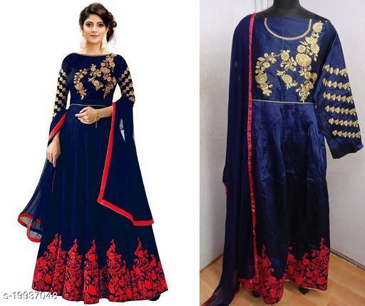 Designer Phantom Silk Red Semi-Stitched Gown With Dupatta