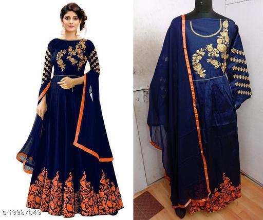 Designer Phantom Silk Orange Semi-Stitched Gown With Dupatta