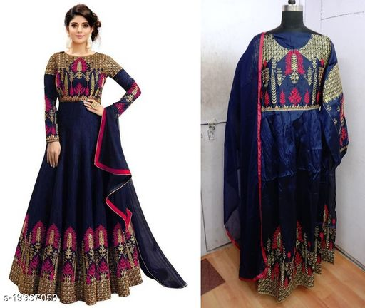 Designer Malabary Slik Pink Semi-stitched Gown With Duptta