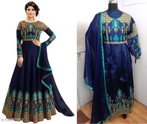 Designer Malabary Slik Rama Green Semi-stitched Gown With Duptta
