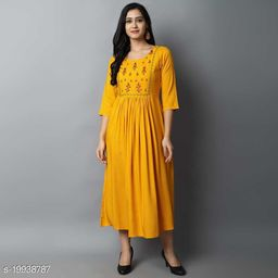 Women Rayon Mustard Kurti