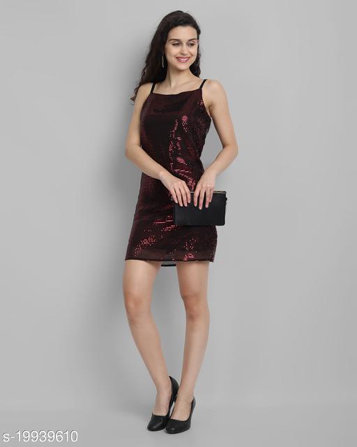 AAROJ Women Bodycon Maroon Dress