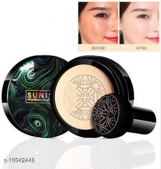 Sunisa BB Cream Air Cushion Foundation Korean Mushroom Head CC Cream Concealer Whitening Cosmetic Waterproof Brighten Face Base Tone Foundation (lvory White, 25 g)(1 ITEM IN PACK)