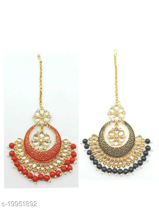 Gold Plated Red and Black Maangtikka