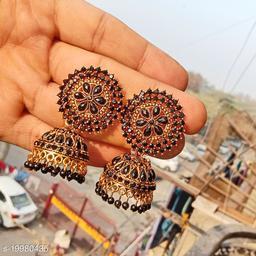 designer big wedding jhumka stone work jhumki for party black color jhumka earrings for women
