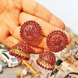 designer big wedding jhumka stone work jhumki for party maroon color jhumka earrings for women