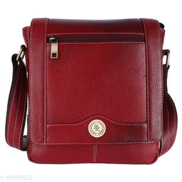 Standard Pure Genuine Leather Handy 9 inch Sling Travel Cross Body Office Utility Tablet Bag for Men, Women, Boys and Girls - DeepCoffee