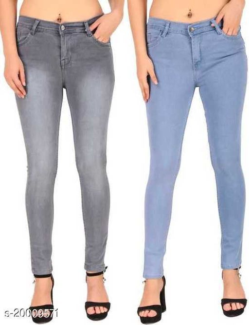 StyleNFit Women Slim Fit Combo Grey & Light Blue 1 Button Jeans (Pack of 2)