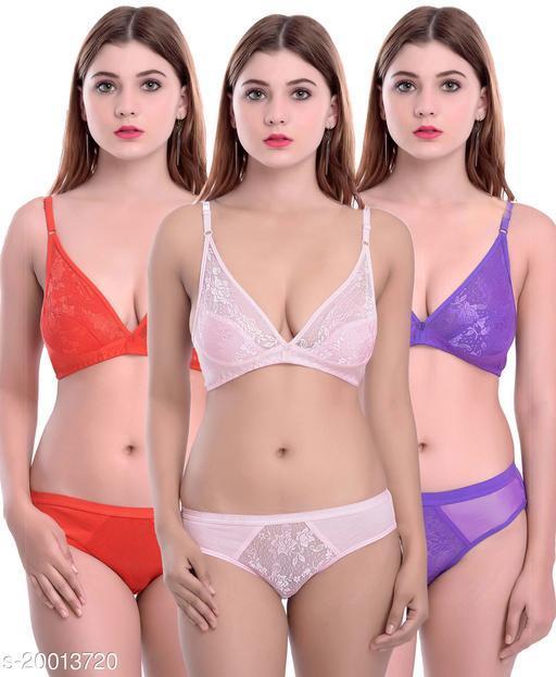 Women's Self-Design Cotton Lingerie Sets