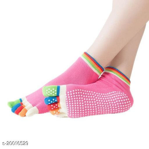 Portable Tool for Woman Clothing Accessories Women's Anti Slip Five Finger Yoga & Gym Socks with NO Fall Grip Under (Multi Color ) Pack Of 2