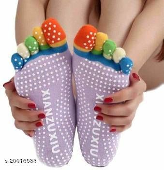 Portable Tool for Woman Clothing Accessories Women's Anti Slip Five Finger Yoga & Gym Socks with NO Fall Grip Under (Multi Color ) Pack Of 1
