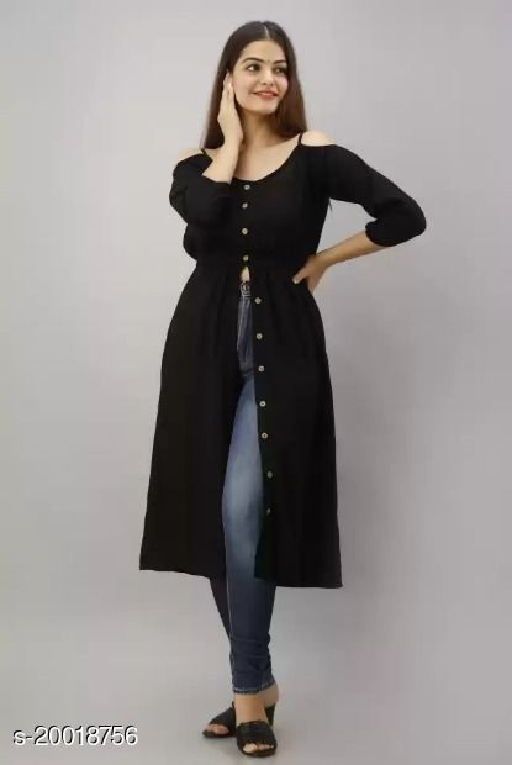 Niyal Apparels Women Stylish Kurti (Black)