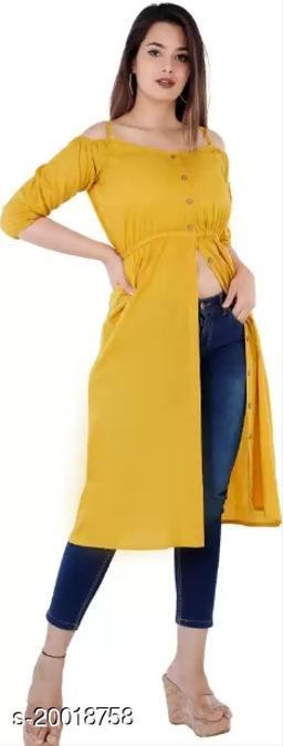 Women Rayon Straight Solid Mustard Kurti