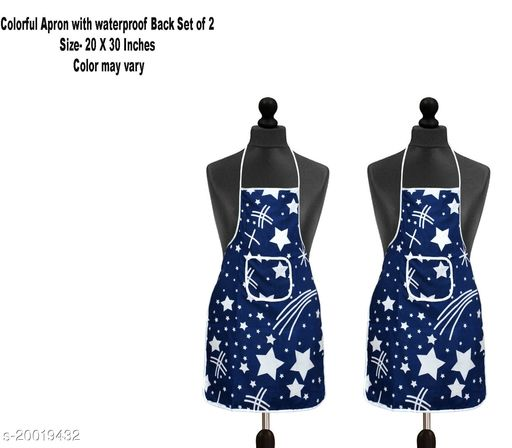 Cotton Kitchen Apron with water proof Back Set of 2