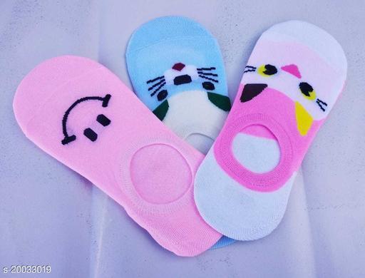 Pretty Women's Ankle Length Cotton Socks (Pack of 3 Multicoloured) by Durga Hosiery